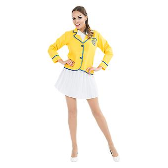 Womens 80s Yellow Coat Holiday Rep Happy Camper Lady Fancy Dress Costume