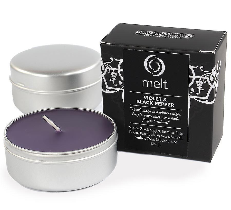 Melt Travel Tin Hand Poured Scented Candle - Violet & Black Pepper