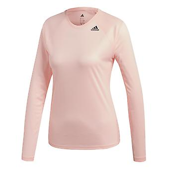 Adidas D2M Womens Long Sleeve Fitness in esecuzione t-shirt Tee rosa