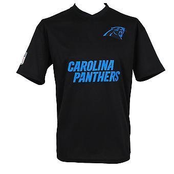 Ny æra NFL Woodmark Jersey V hals T-Shirt ~ Carolina Panthers