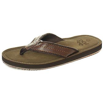 PDQ M641B Brown Mens Flip Flops / Toe Post Sandals