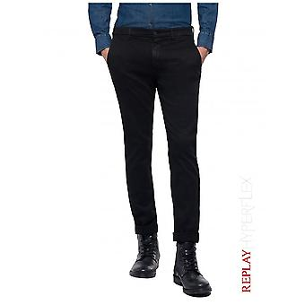 Replay Jeans Slim fit Zeumar chino broek Hyperflex-zwart