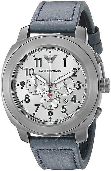 Armani Ar6086 Sport Grey Leather Band Steel Case Quartz Men's Watch