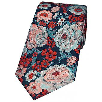 Posh and Dandy Floral Silk Tie - Cerise/Blue/Lilac