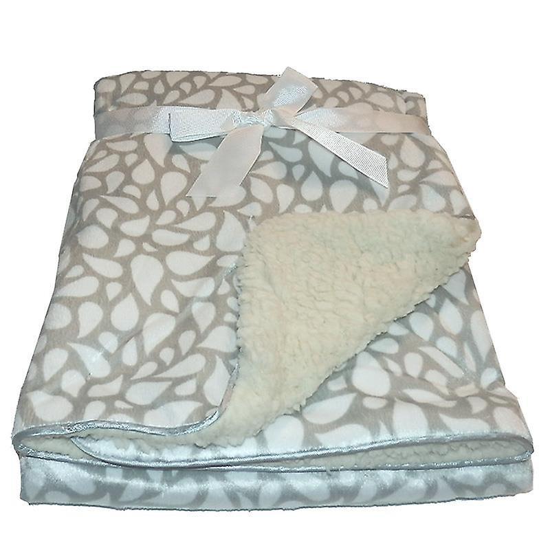 Grey Drops Mink Sherpa Fleece Lined Baby Blanket
