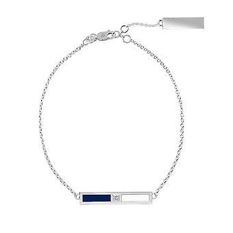 Pulsera de cadena de diamantes de plata de ley de la Universidad de Villanova en azul y blanco