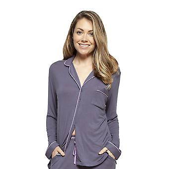 Cyberjammies 4190 Women's Laura Grey Modal Revere Yaka Pijama Üst