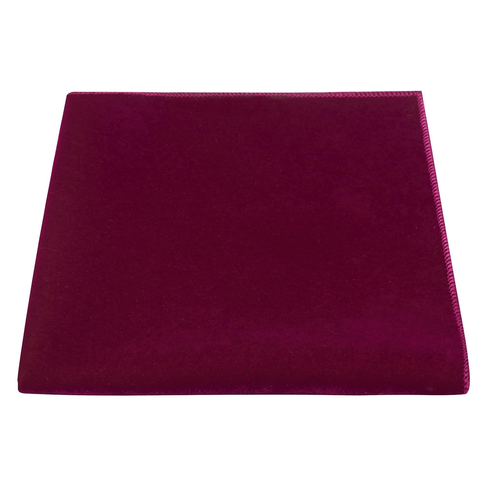 Luxury Morrocan Red Velvet Pocket Square, Handkerchief, Dark Pink