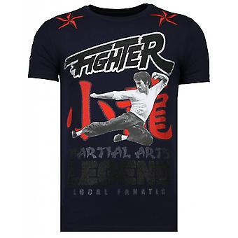 Fighter Legend - Rhinestone T-shirt - Navy