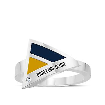 University Of Notre Dame Engraved Sterling Silver Diamond Geometric Ring In Blue and Yellow