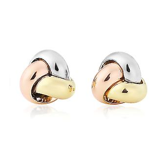 Jewelco London Ladies 9ct hvit Rose gult gull Love Knot Stud øredobber-9mm