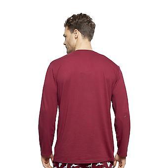 Cyberjammies 6411 bărbați ' s Joseph Burgundia roșu de bumbac mânecă lungă pijama top