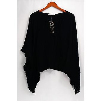 Daniel Rainn Top XS/S Embellished Batwinged Sleeve Tunic Black