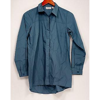 Joan Rivers Classics Collection mulheres ' s Top XXS adaptados camisa azul A280810