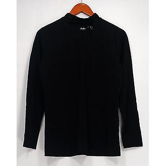 Du Jour Top Long Sleeve Banded Neck Knit Top Black A300220