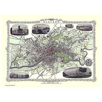 Historie Portal Glasgow 1851 kart John Tallis 1000 stykke Jigsaw 690mm x 480mm (JG)
