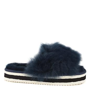 Shepherd of Sweden Lily Marine Fluffy Platform Slide