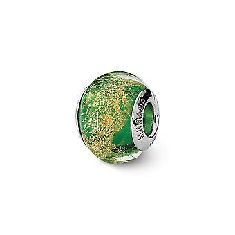 925 Sterling Silver Polished Antique finish Italian Murano Glass Reflections Green Gold Italian Murano Bead Charm