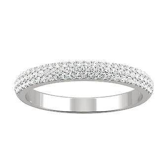 14K White Gold Moissanite door Charles & Colvard 1mm ronde Pave trouwring, 0.40 cttw dauw
