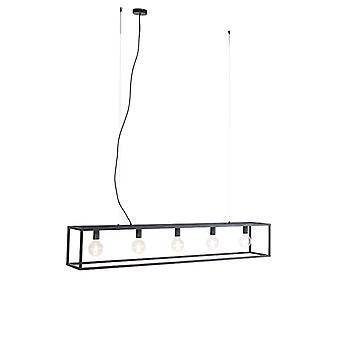QAZQA Moderne rechteckige Hängelampe schwarz 5-Licht - Käfig
