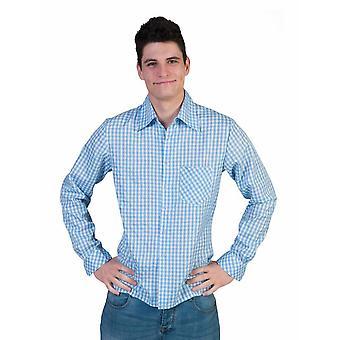 Costumes Shirt Blue/White Plaid Men's Costume Cowboy Shirt Men's Costume