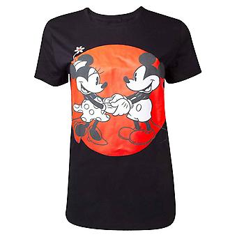 Mickey Mouse camiseta Minnie Amor nuevo oficial Disney mujeres flaco ajuste negro