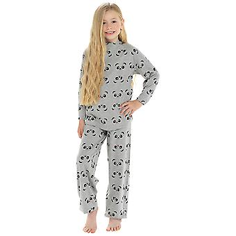 Girls 100% Cotton Super Panda Face Print Pyjama Set
