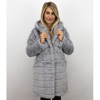Fake Fur Coat - Parka - Grey