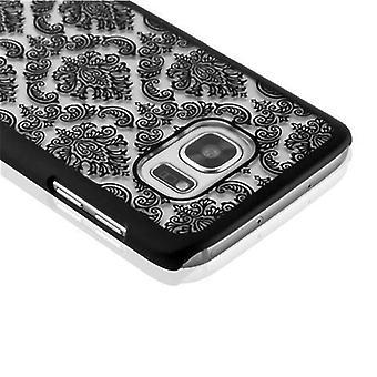 Samsung Galaxy S7 Hardcase Hülle in SCHWARZ von Cadorabo - Blumen Paisley Henna Design Schutzhülle – Handyhülle Bumper Back Case Cover