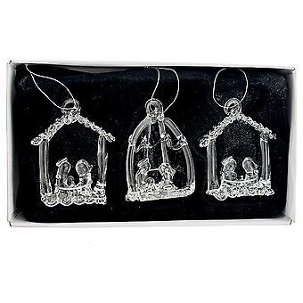 3 Clear Glass Christian Nativity Scene Christmas Bauble Ornaments