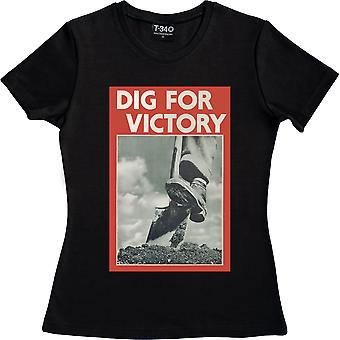 Dig For Victory camiseta negra de mujeres's