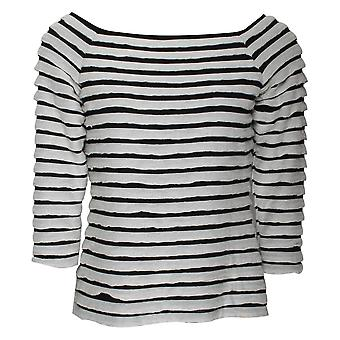 Frank Lyman Black & White Long Sleeve Frill Top