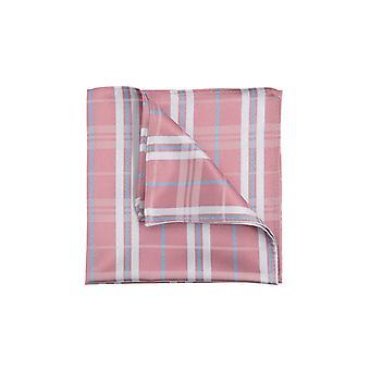 Dobell Mens Pink Tartan Jacquard Pocket Square