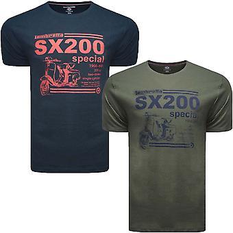 Lambretta mens SX200 casual Print Kortärmad besättning hals bomull T-shirt topp tee
