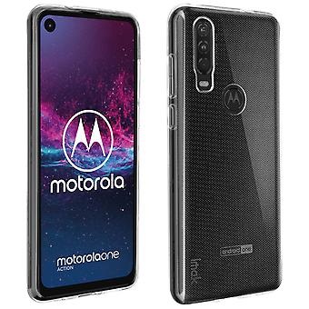 Soft Silicone Protective Case for Motorola One Action Resistant-ImaK,Translucent