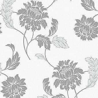 Sienna Floral Motif Wallpaper Rasch Gris Blanco Glitter Vinilo Texturizado Natural