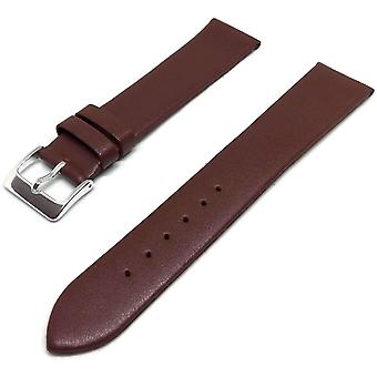 Calf leather watch strap burgundy with chrome plated buckle size 12mm to 30mm