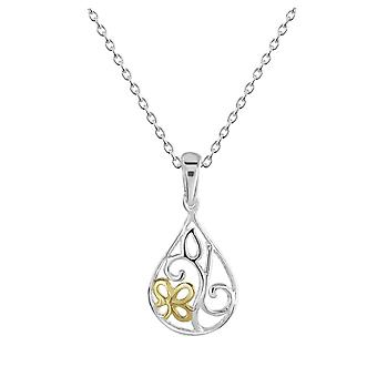 Dew Sterling Silver Flower Teardrop Gold Plate Pendant 90809GD