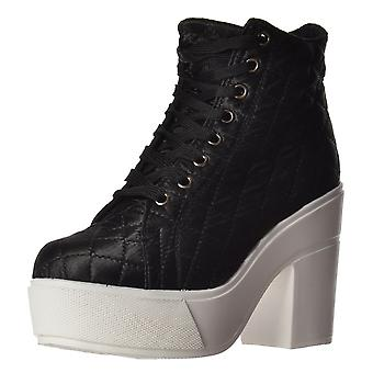Onlineshoe Rihanna Lace Up Platform High Wedge Ankle Boot - Black, White
