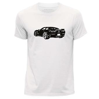 STUFF4 Men's Round Neck T-Shirt/Stencil Car Art / Corvette Z06/White