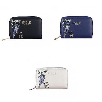 Fabel dames/dames vogel geborduurd kleine portemonnee