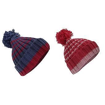 Kinderen/Kids meisjes gestreepte Winter bobbel hoed