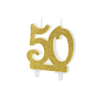 Gold Glitter Birthday Candle Number 50, Cake Decorations 7.5cm