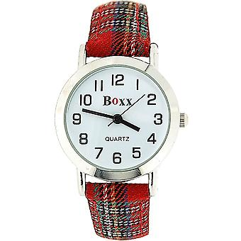 Boxx Unisex Children's Analogue Red Tartan Fabric Strap Buckle Funky Watch