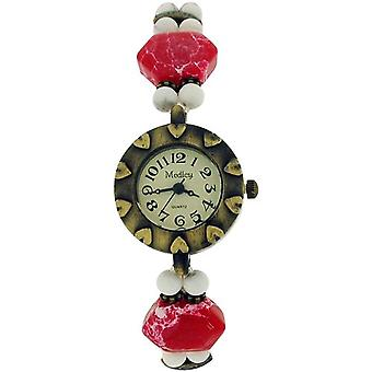Medley Beige Dial Simulated Red/White Marbel/Beads Elasticated Strap Watch MED02