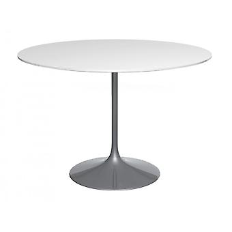 Gillmore Pedestal Large Dining Table White Gloss And Smoked Chrome