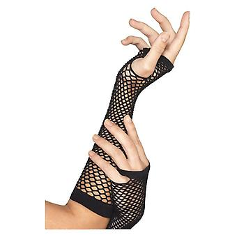 Womens Black Long Fishnet Gloves Fancy Dress Accessory