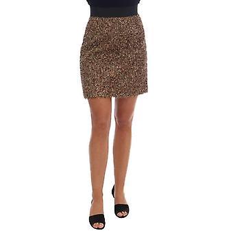 Dolce & Gabbana Gold Black Short Mini Skirt -- BYX1178800