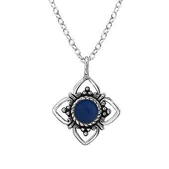 Цветок - 925 стерлингового серебра Обычная ожерелья - W23352x
