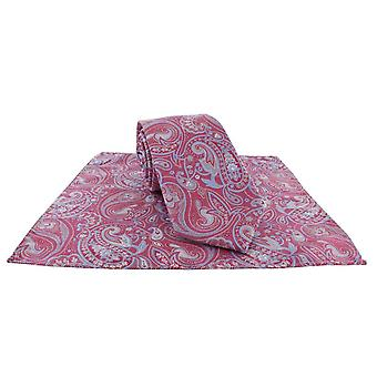 Michelsons of London Springtime Paisley  Tie and Pocket Square Set - Magenta Pink